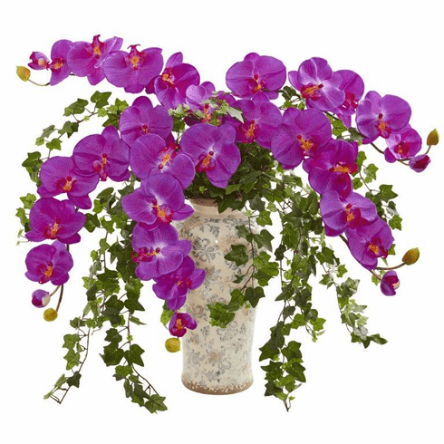 Orchid Phalaenopsis Orchid and Ivy Artificial Arrangement  in Urn