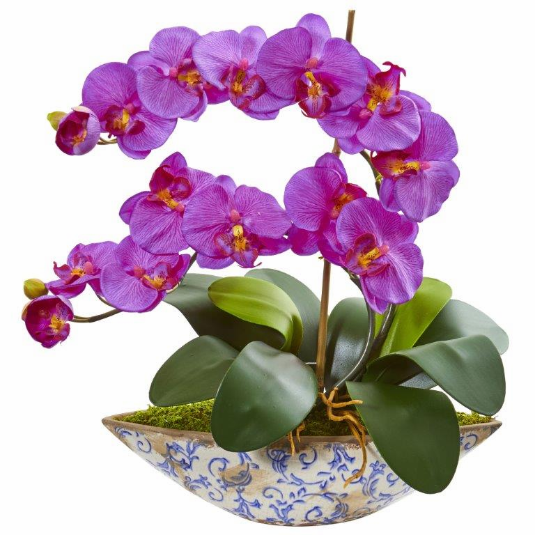 "16"" Orchid Phalaenopsis Orchid Artificial Arrangement in Vase"
