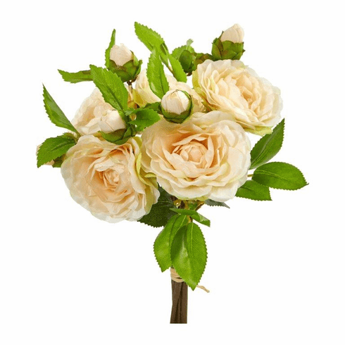 "11"" Peach Camellia Artificial Flower Bouquet (Set of 4)"