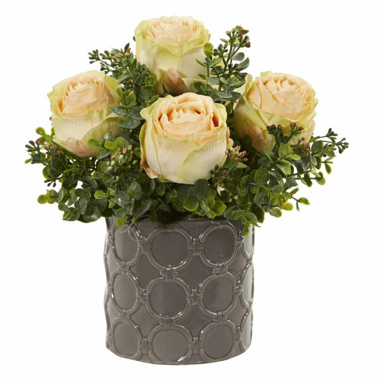 Peach 11� Roses and Eucalyptus Artificial Arrangement in Designer Vase