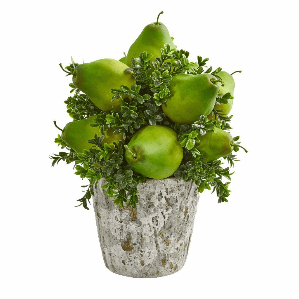 "15"" Pears & Grass Artificial Arrangement in Weather Planter"