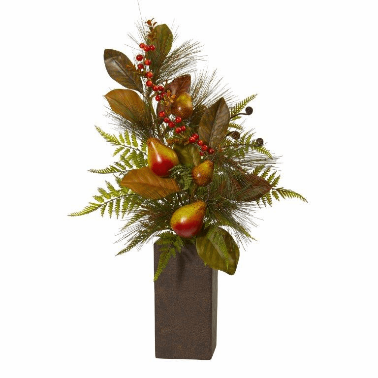"26"" Pears, Magnolia Leaf and Fern Artificial Arrangement in Weathered Brown Planter"