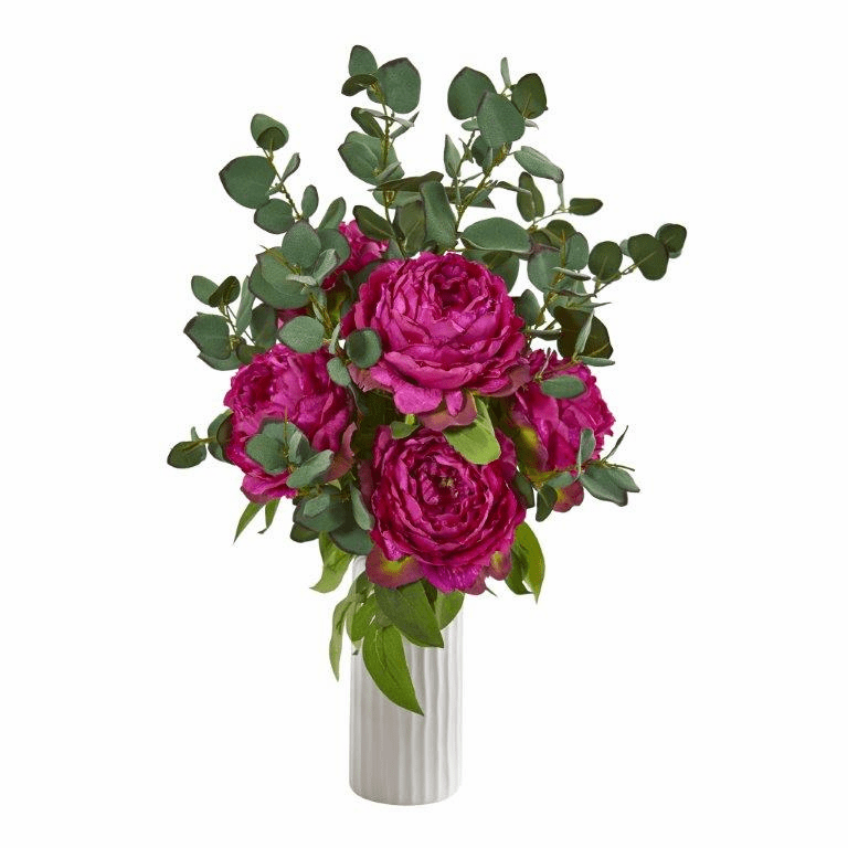 """23"""" Peony and Eucalyptus Artificial Arrangement in White Vase - Orchid"""