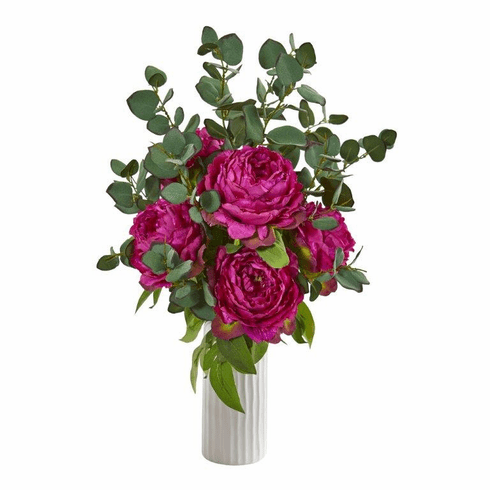 "23"" Peony and Eucalyptus Artificial Arrangement in White Vase - Orchid"