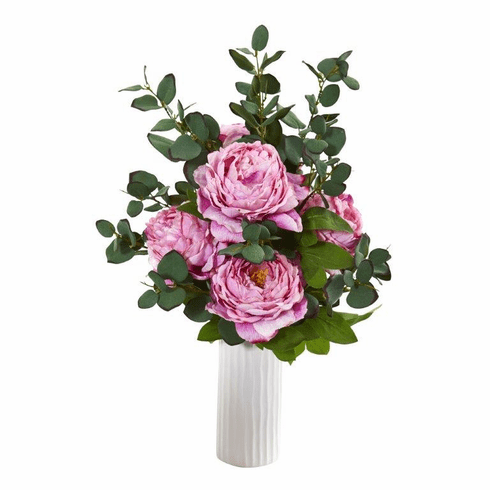 "23"" Peony and Eucalyptus Artificial Arrangement in White Vase - Pink"