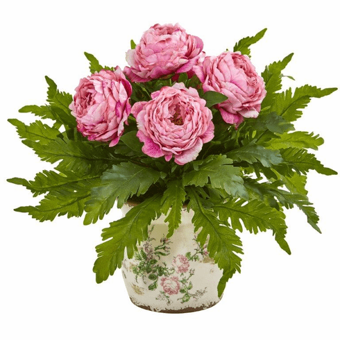 "19"" Peony and Fern Artificial Arrangement in Floral Vase"