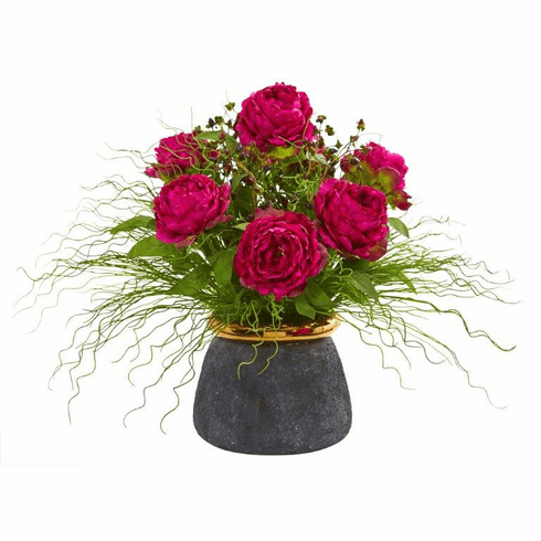 "21"" Peony and Grass Artificial Arrangement in Designer Vase"