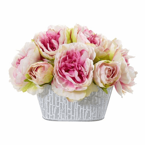 "8"" Peony Artificial Arrangement in Decorative Vase - Pink"