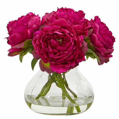 "10"" Peony Artificial Arrangement in Glass Vase - Orchid"