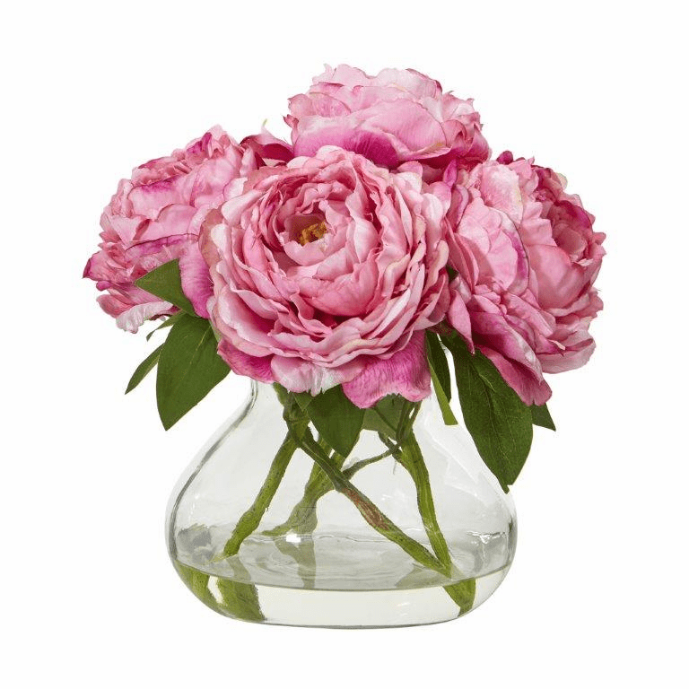 "10"" Peony Artificial Arrangement in Glass Vase - Pink"