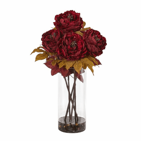 Peony Artificial Arrangement in Glass Vase - Red