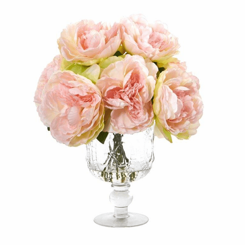"""13"""" Peony Artificial Arrangement in Royal Glass Urn - Pink"""