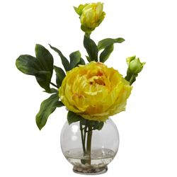 """13.5"""" Peony with Fluted Vase Silk Flower Arrangement - Yellow"""