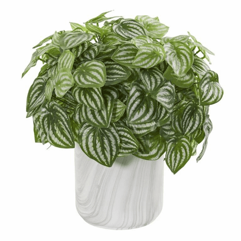 "14"" Peperomia Artificial Plant in Marble Finished Vase (Real Touch)"
