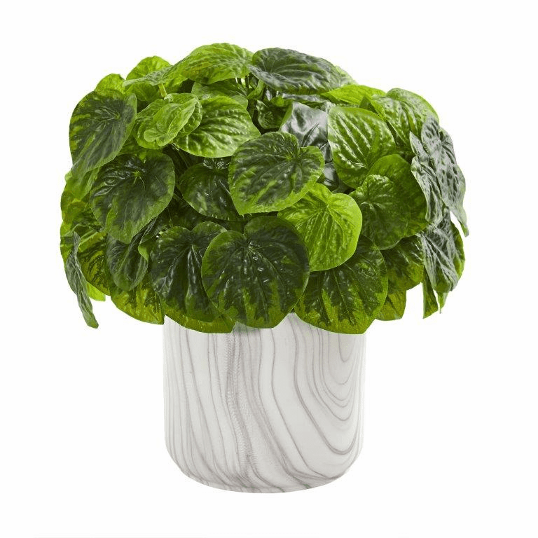 """13"""" Peperomia Artificial Plant in Marble Vase (Real Touch)"""
