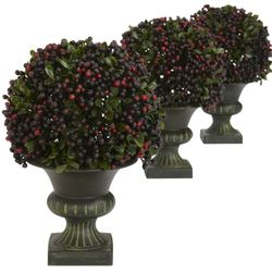 "8.5"" Plastic Pepper Berry Ball Topiary (Set of 3)"