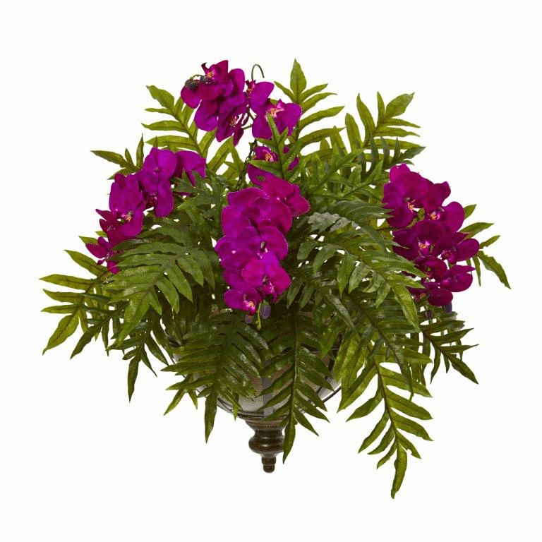"24"" Phalaenopsis Orchid and Fern Artificial Plant in Metal Hanging Bowl - Purple"