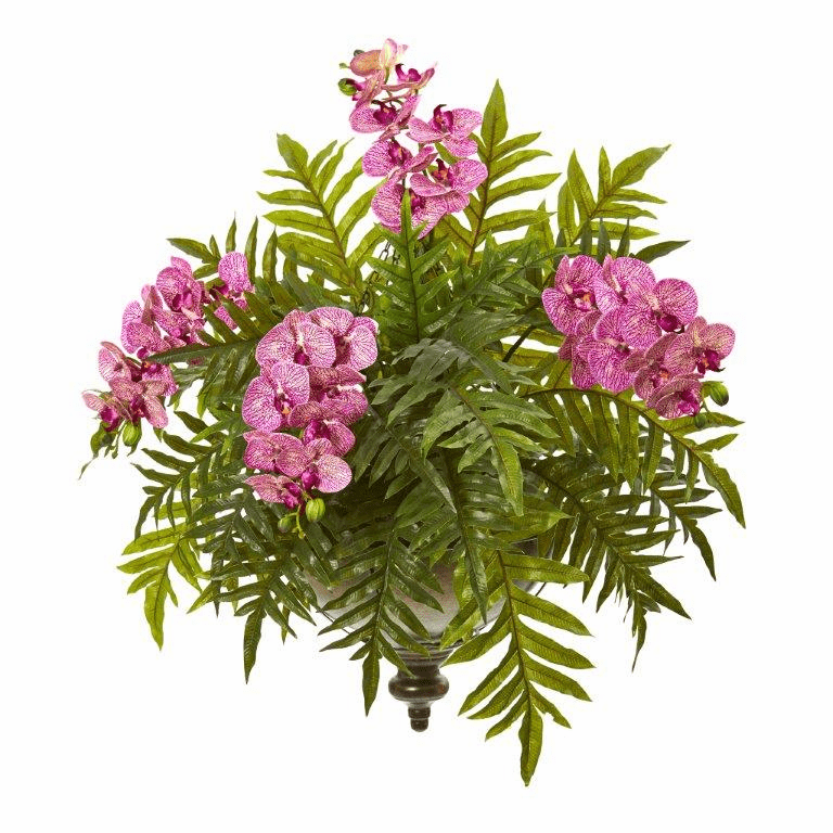 "24"" Phalaenopsis Orchid and Fern Artificial Plant in Metal Hanging Bowl - Purple Cream"