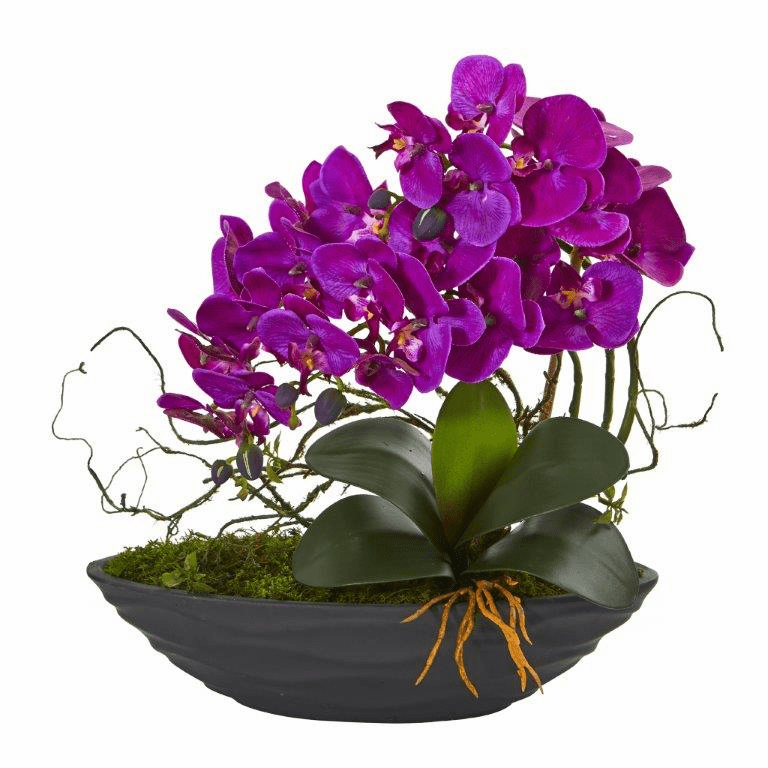 "17"" Phalaenopsis Orchid Artificial Arrangement in Decorative Planter - Purple"