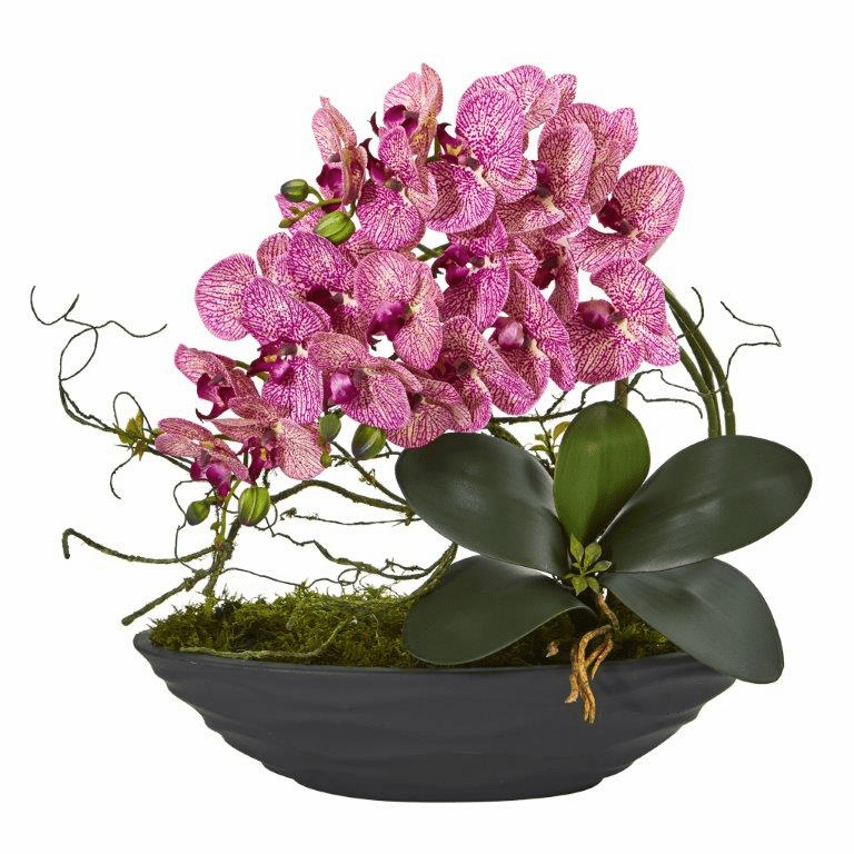 "17"" Phalaenopsis Orchid Artificial Arrangement in Decorative Planter - Purple Cream"