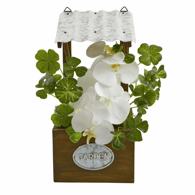 "14"" Phalaenopsis Orchid Artificial Plant in Tin Roof Planter - White"