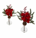 """12"""" Phalaenopsis Orchid, Berry and Pine Artificial Arrangement (Set of 2)"""