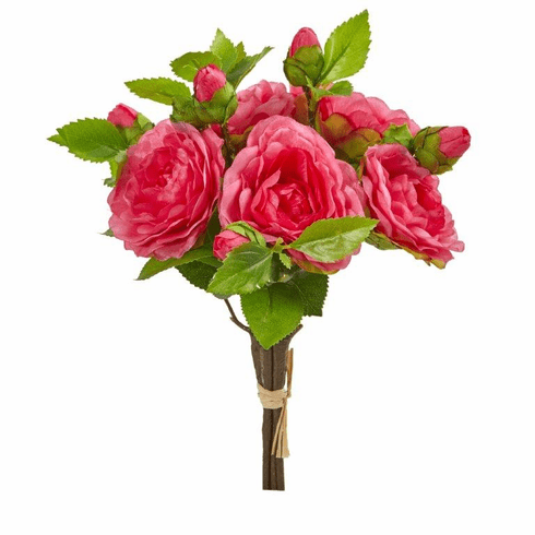 "11"" Pink  Camellia Artificial Flower Bouquet (Set of 4)"