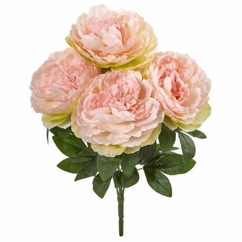 "Pink 17"" Peony Artificial Flower Bouquet (Set of 6)"