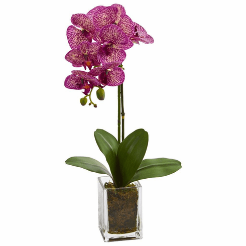 "24"" Pink Orchid Phalaenopsis Artificial Arrangement in Vase"