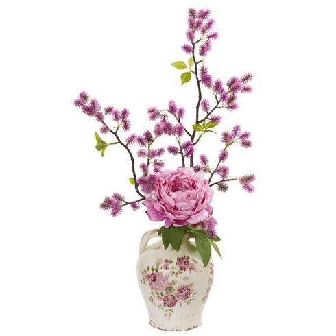 """Pink 25"""" Peony and Thistle Artificial Arrangement in Flower Print Jar"""