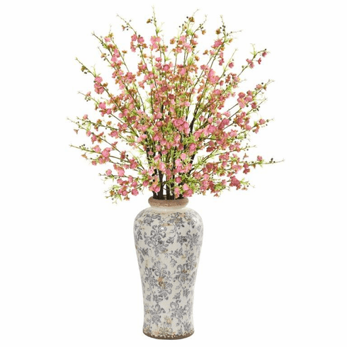 "Pink 37"" Cherry Blossom Artificial Arrangement in Decorative Vase"