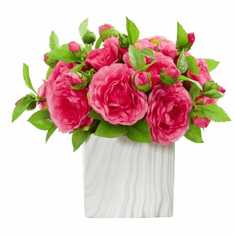 "11"" Pink Camellia Artificial Arrangement in Marble Finished Vase"