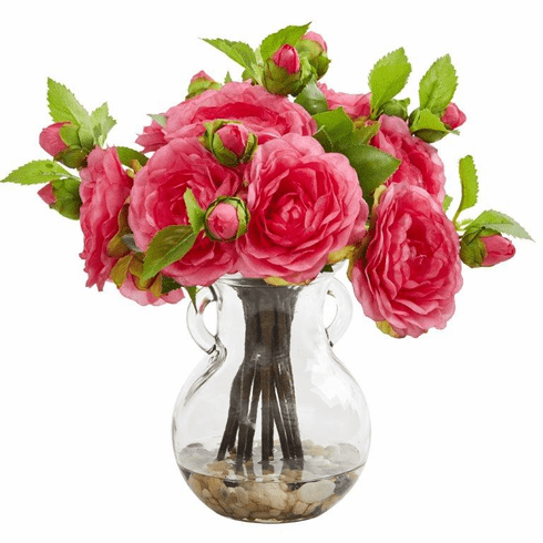 Pink Camellia Artificial Arrangement in Vase