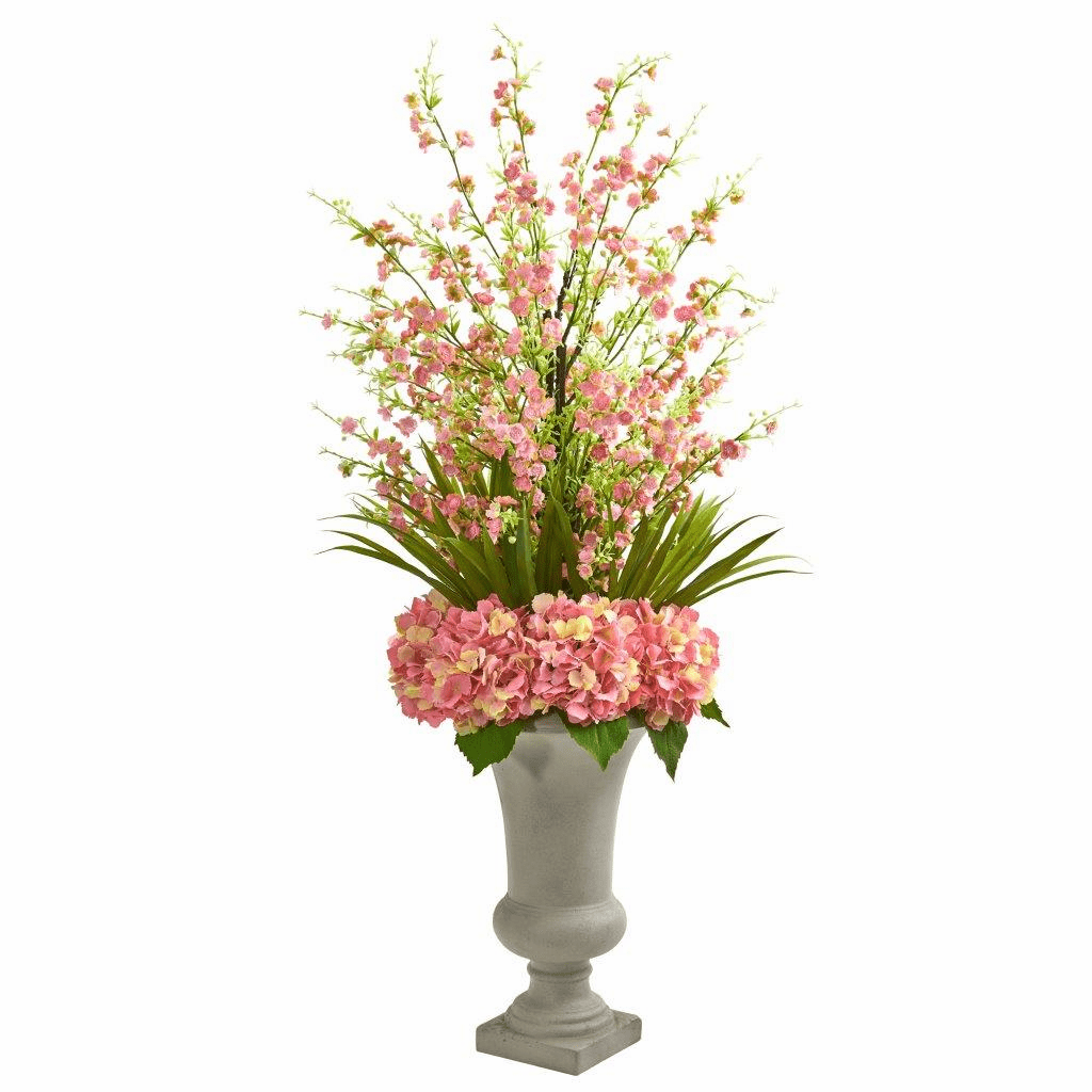 "42"" Pink Cherry Blossom & Hydrangeas Artificial Arrangement in Urn"