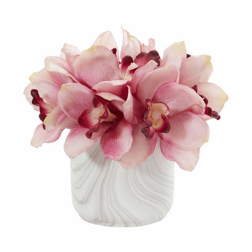 "7"" Pink Cymbidium Orchid Artificial Arrangement in Marble Vase"