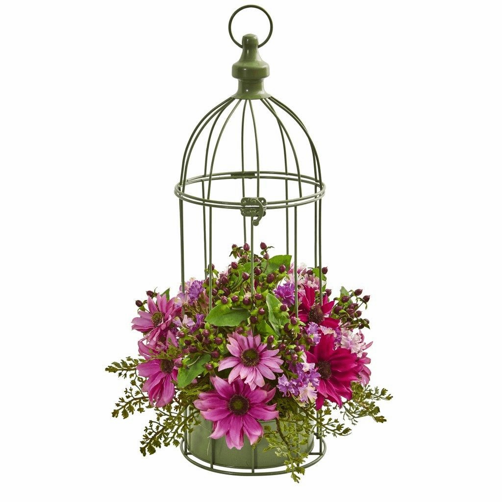 "19"" Pink Daisy Artificial Arrangement in Decorative Bird Cage"