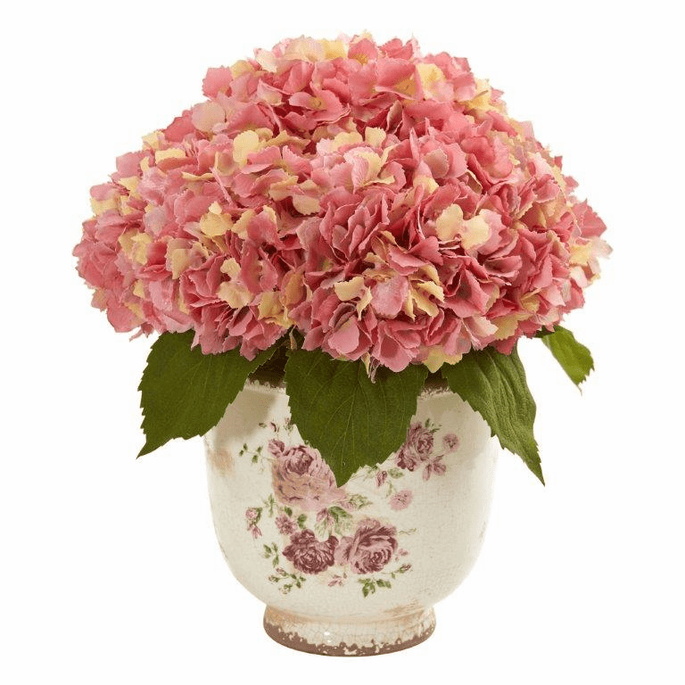 Pink Giant Hydrangea Artificial Arrangement in Floral Printed Vase