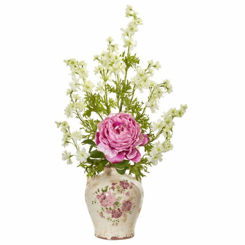 "24"" Pink Peony and Dancing Daisy Artificial Arrangement"