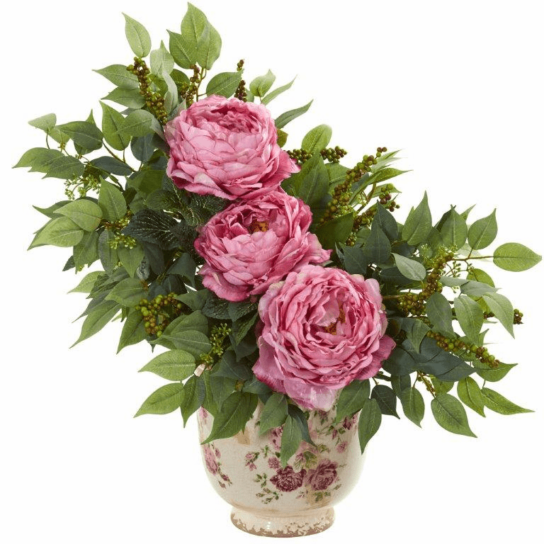 Pink Peony and Mixed Greens Artificial Arrangement in Vase