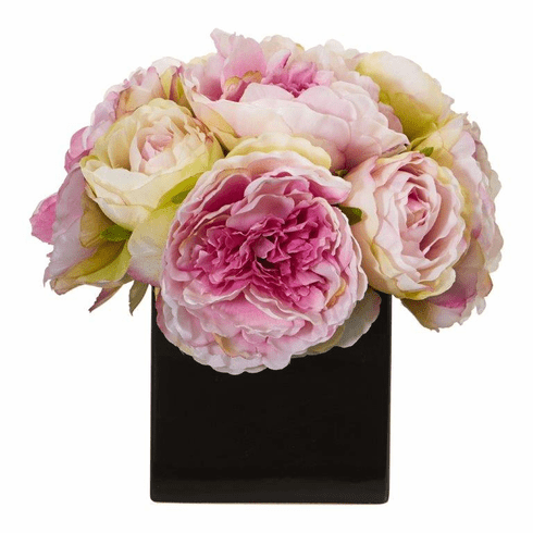 "9"" Pink Peony Artificial Arrangement in Black Vase"