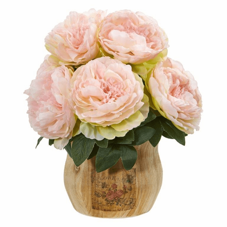"13"" Pink Peony Artificial Arrangement in Decorative Planter"