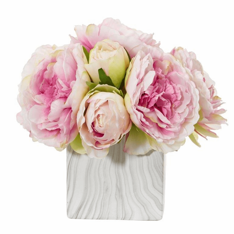 "10"" Pink Peony Artificial Arrangement in Marble Finished Vase"