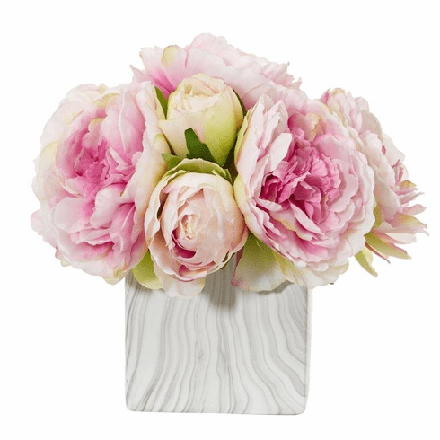 Pink Peony Artificial Arrangement in Marble Finished Vase