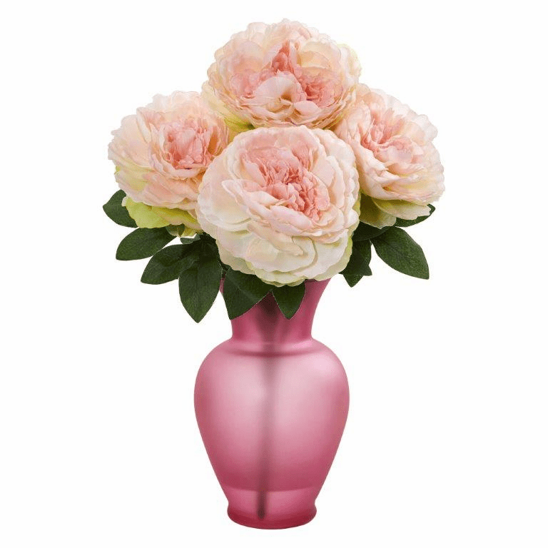 "16"" Pink Peony Artificial Arrangement in Rose Garden Vase"