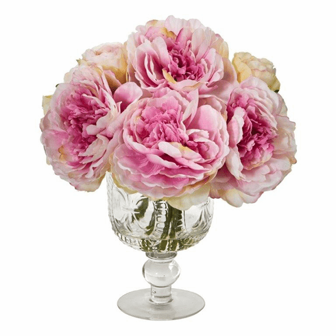 Pink Peony Artificial Arrangement in Royal Glass Urn