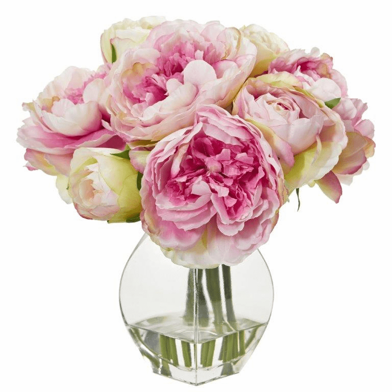 "12"" Pink Peony Artificial Arrangement in Vase"