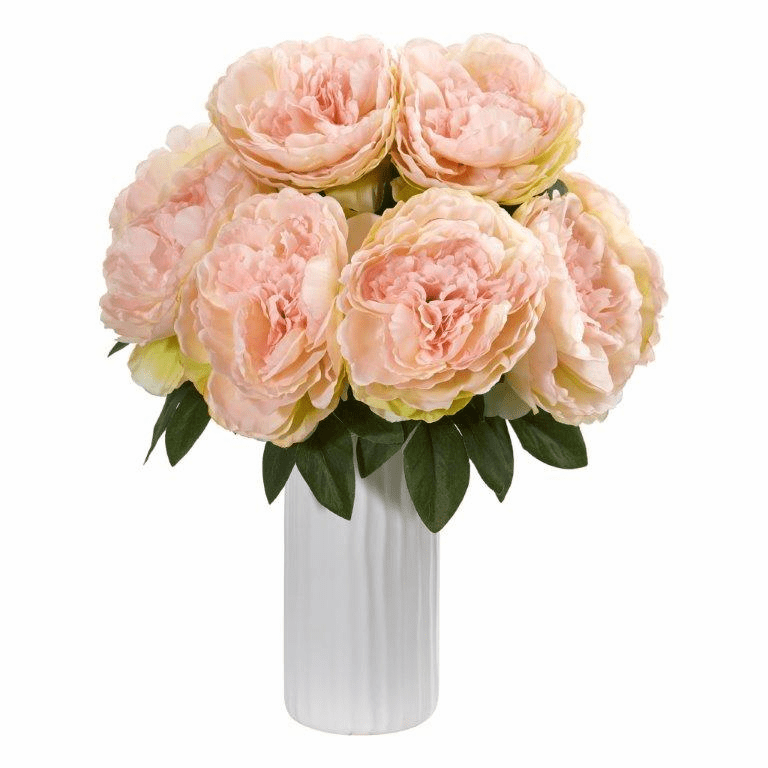 Pink Peony Artificial Arrangement in White Vase