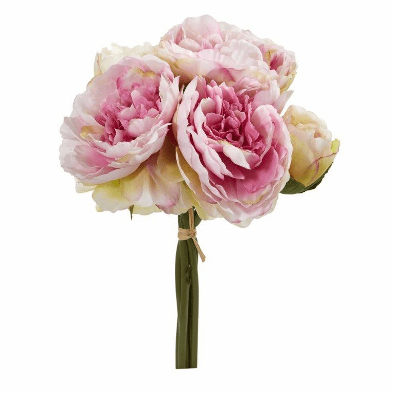 Pink Peony Bouquet Artificial Flower (Set of 6)
