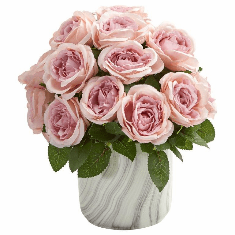 "12"" Pink Rose Artificial Arrangement in Marble Finish Vase"