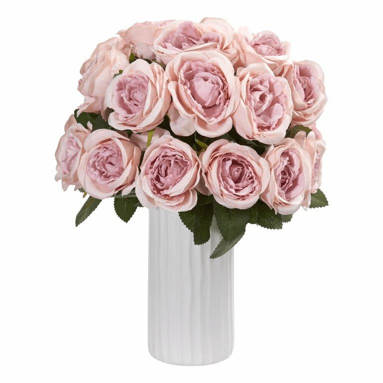 "14"" Pink Rose Artificial Arrangement in White Vase"